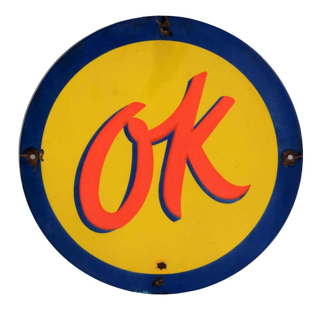 OK Used Cars Porcelain Sign.