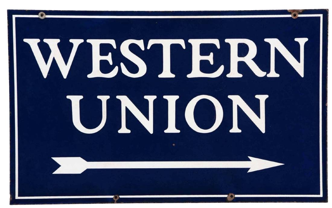 Western Union Porcelain Sign with Arrow Graphic.