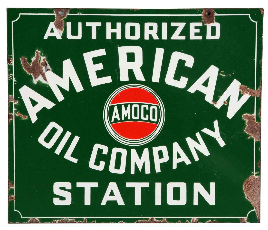 American Oil Company Authorized Station Porcelain Sign.
