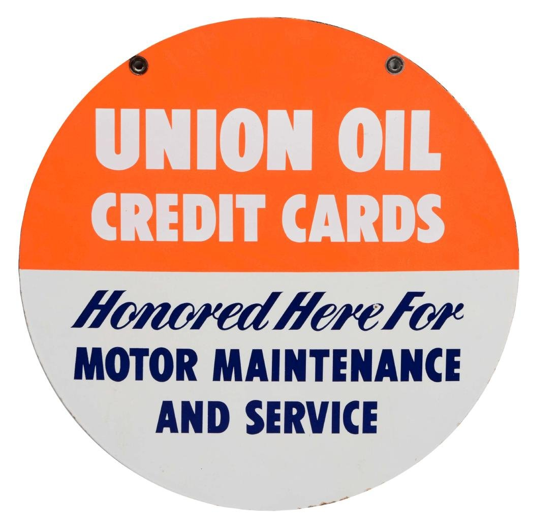 Union 76 Credit Cards Honored Here Porcelain Sign.