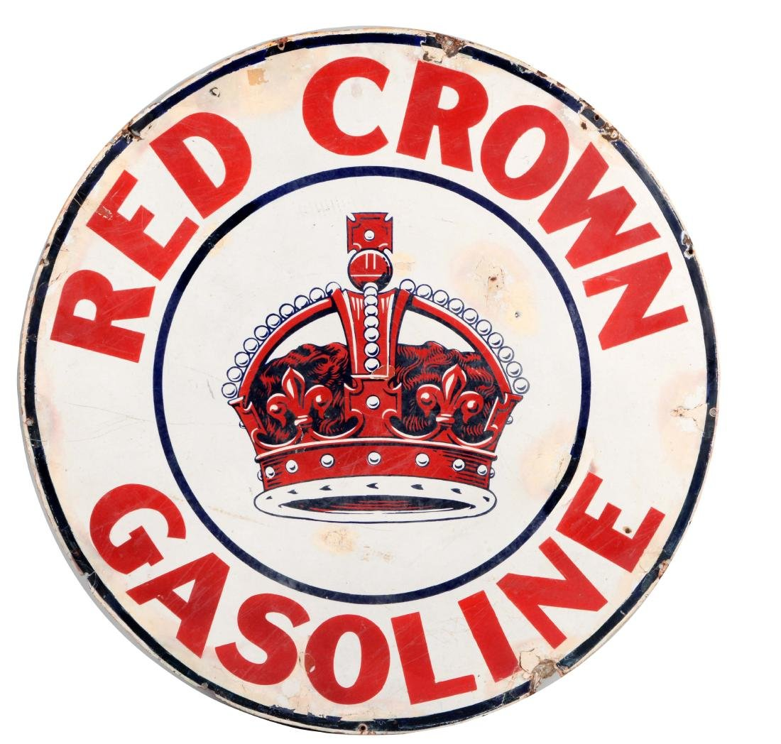 Red Crown Gasoline Porcelain Sign with Crown Graphics.