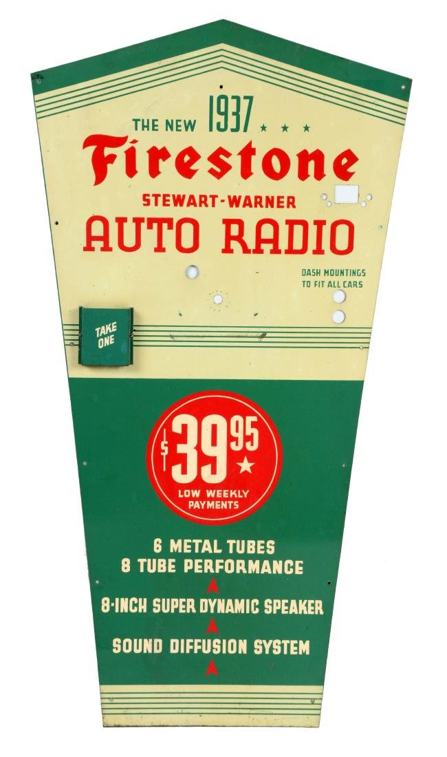 Firestone 1937 Auto Radio Tin Service Station Display.