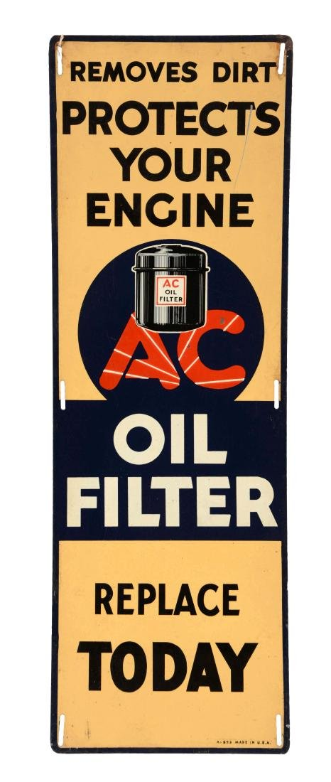 AC Oil Filter Vertical Tin Sign.