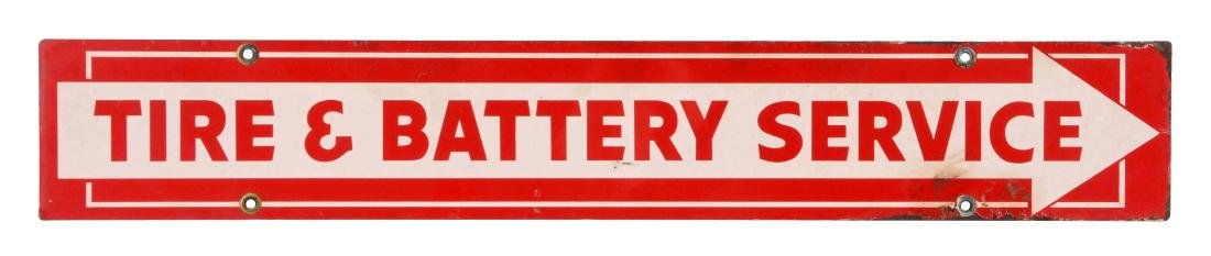 Tire and Battery Service Tin Strip Sign with Arrow