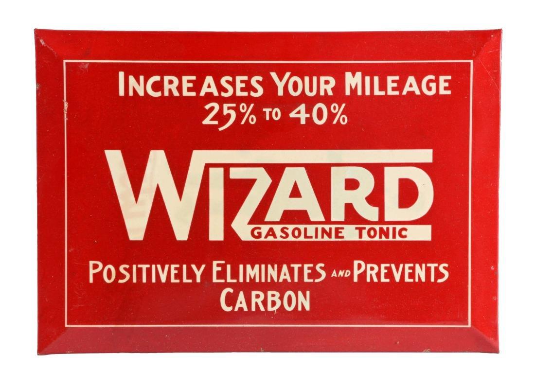 Wizard Gasoline Tonic Tin over Cardboard Sign.