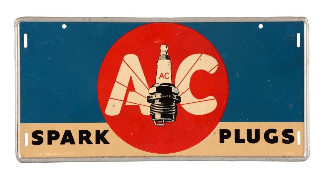 AC Spark Plugs Self Framed Tin Sign.