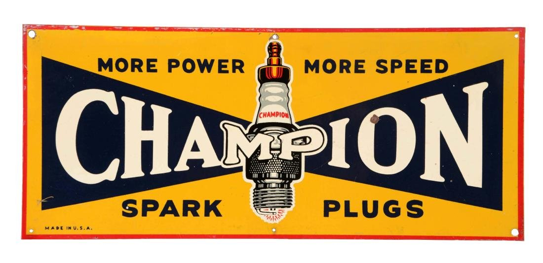 Champion Spark Plugs with Spark Plug Graphic Tin Sign.