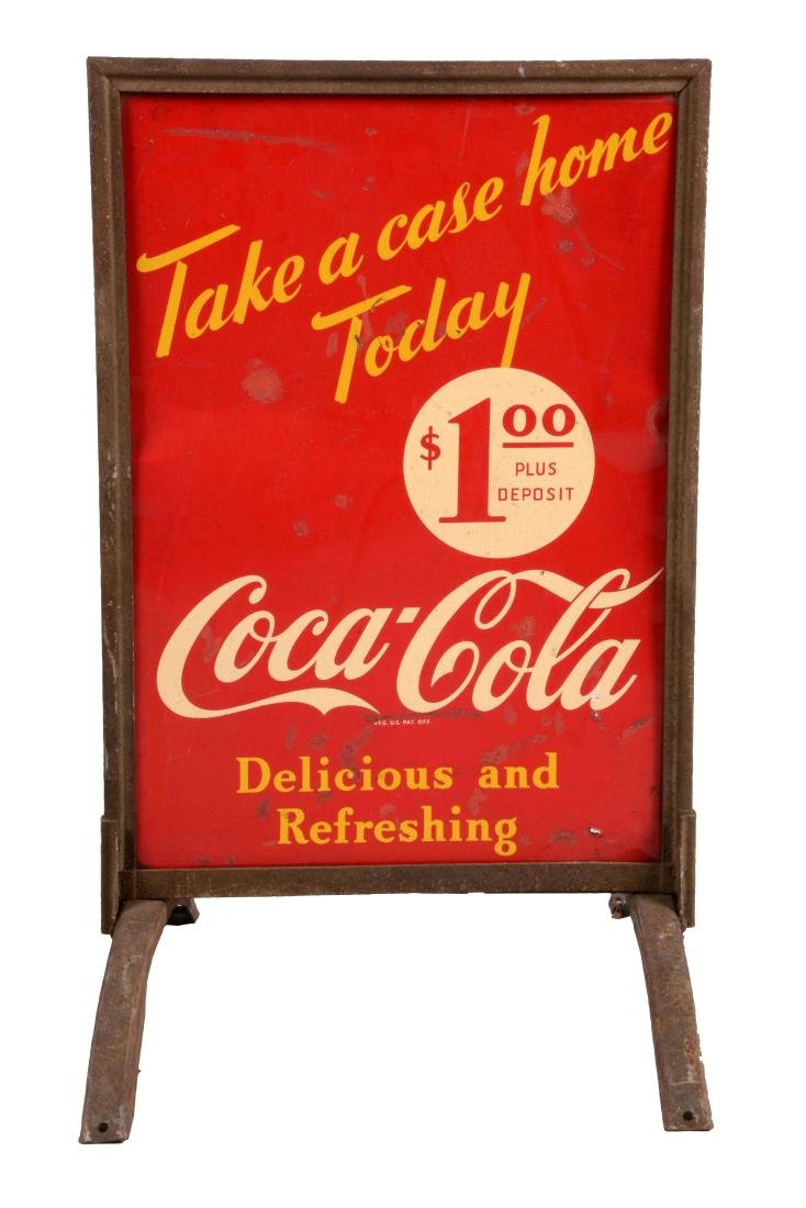 Coca-Cola Tin Curb Side Sign In Stand.