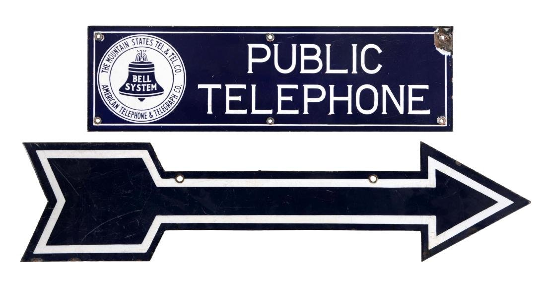 Lot of 2: Public Telephone Porcelain Sign & Porcelain