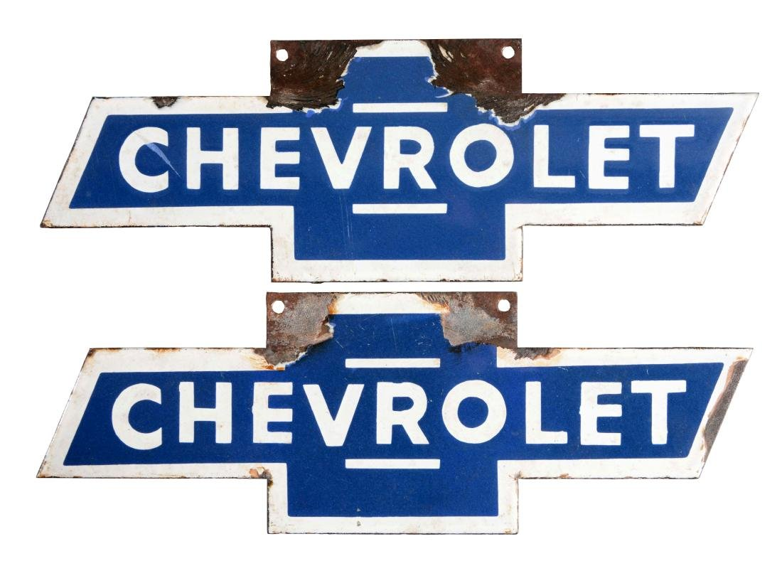 Lot Of 2: Porcelain Chevrolet Bow Tie Badge Signs.