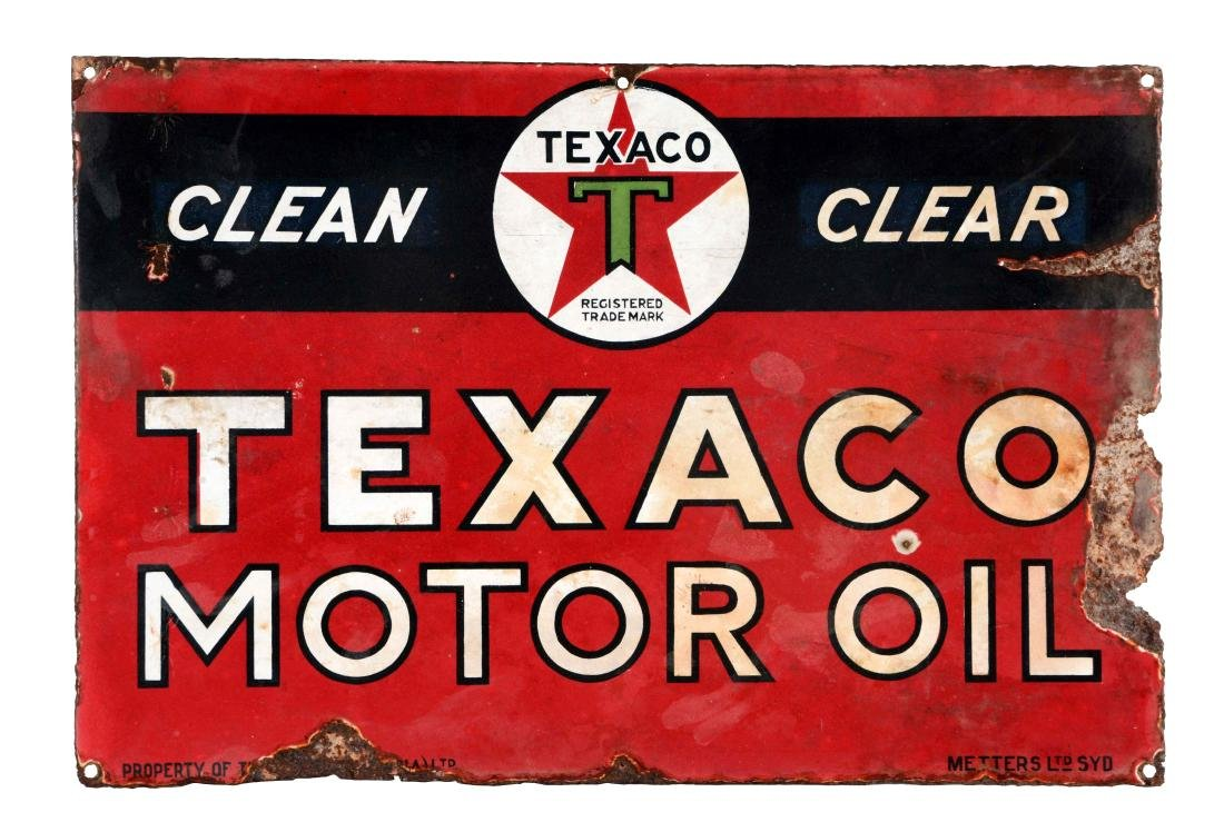 Texaco (black T) Motor Oil Porcelain Sign.