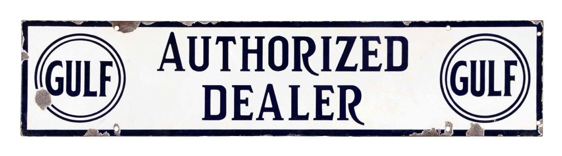 Gulf Authorized Dealer Porcelain Strip Sign.