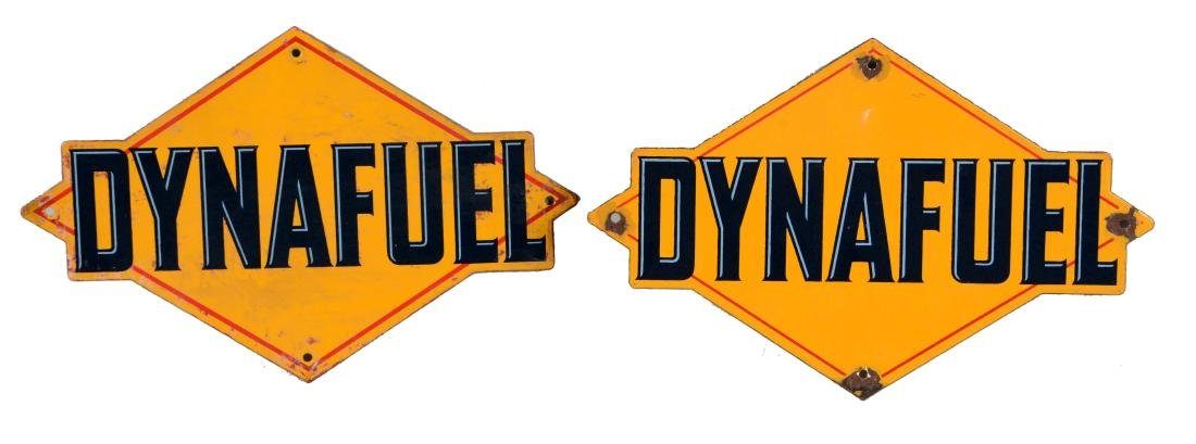 Lot of 2: Sunoco Dynafuel Porcelain Pump Signs.
