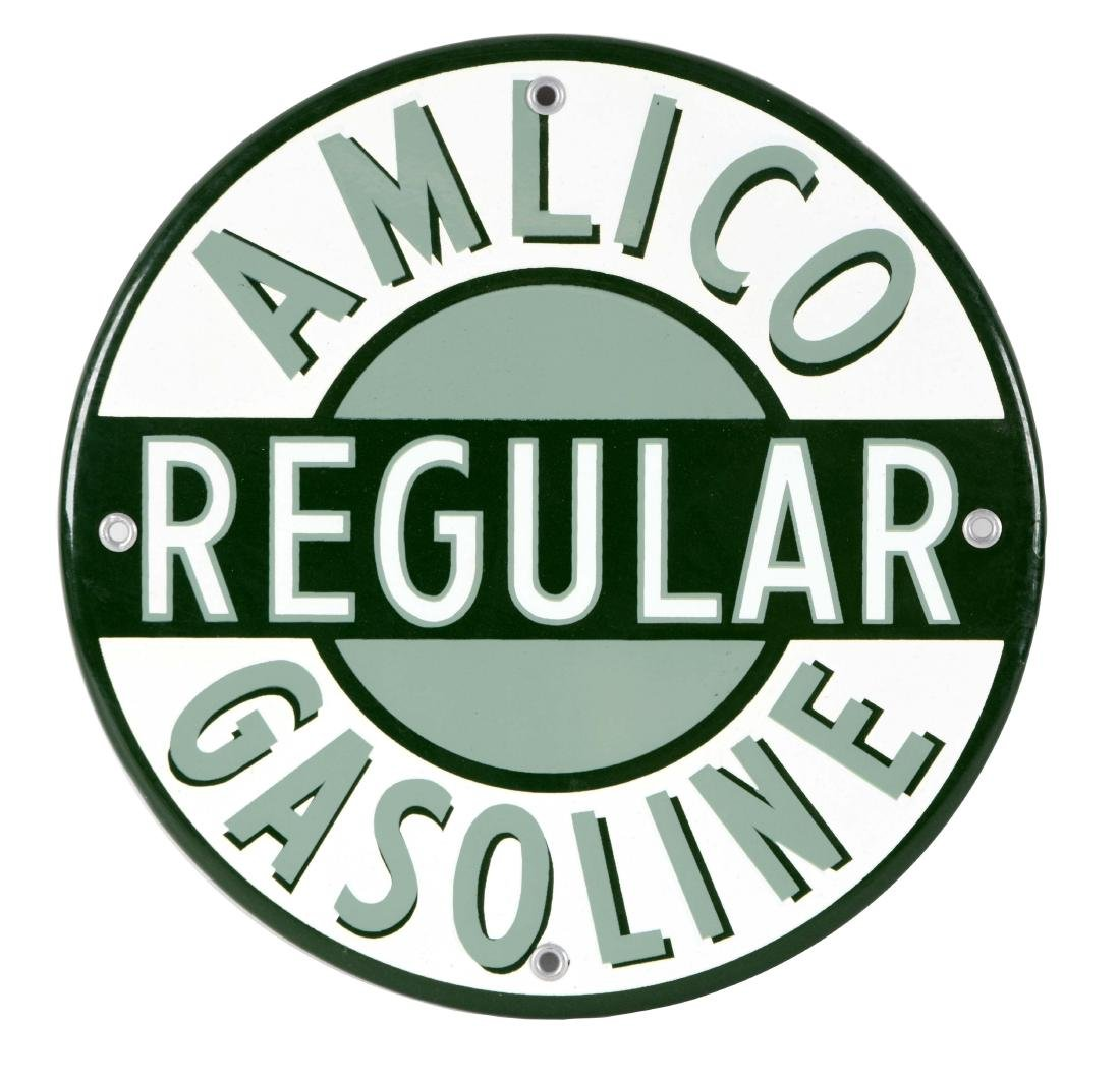 Amlico Regular Gasoline Porcelain Pump Plate.