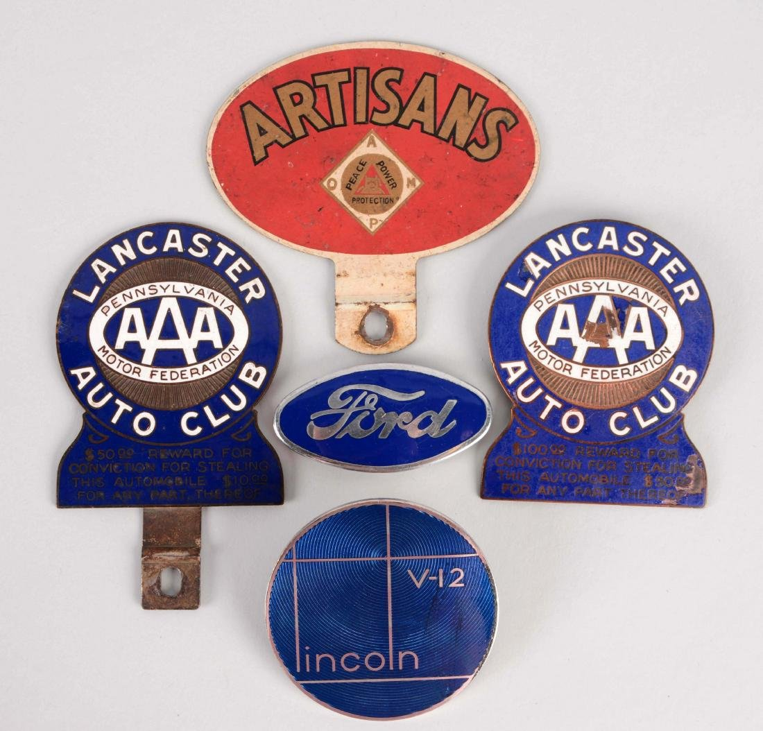 Lot of 5: Automotive Badges & License Plate Topper.
