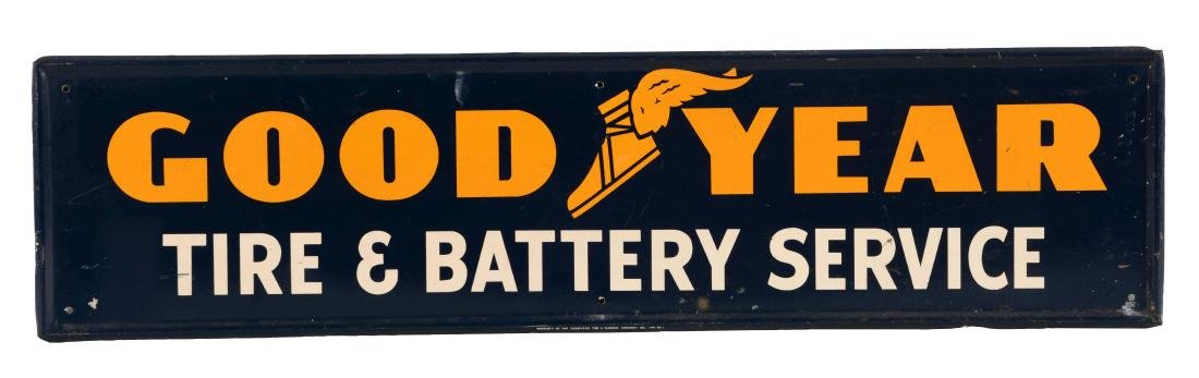 Goodyear Tire & Battery Service Self Framed Tin Sign.