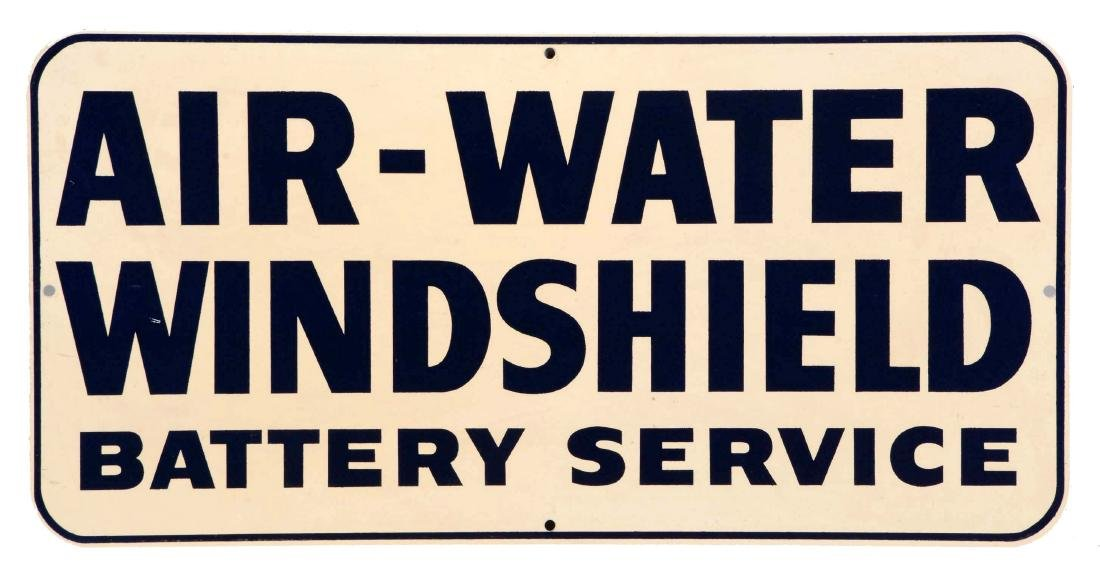 Air Water Windshield & Battery Service Sign Tin.