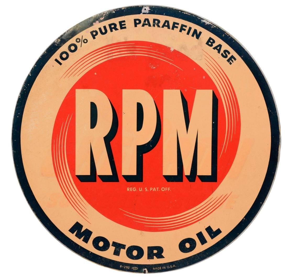 RPM Motor Oil Tin Sign.