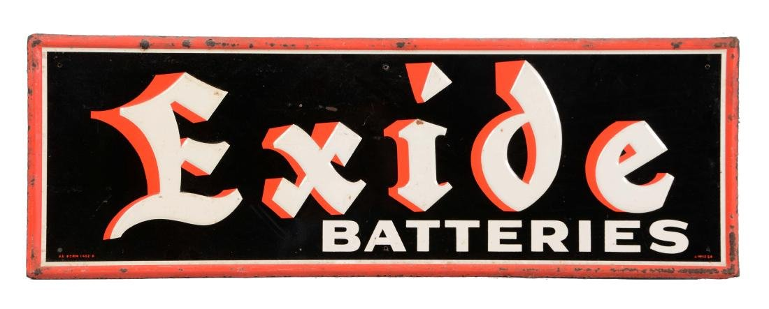 Exide Batteries Embossed Tin Sign.