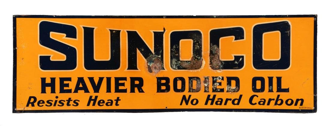 Sunoco Heavier Bodied Motor Oil Embossed Tin Sign.