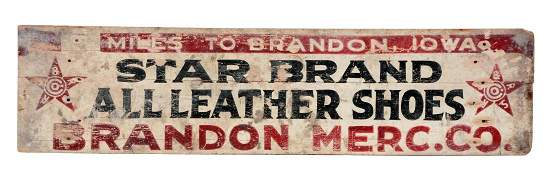 Star Brand All Leather Shoes Highway Mile Marker Sign