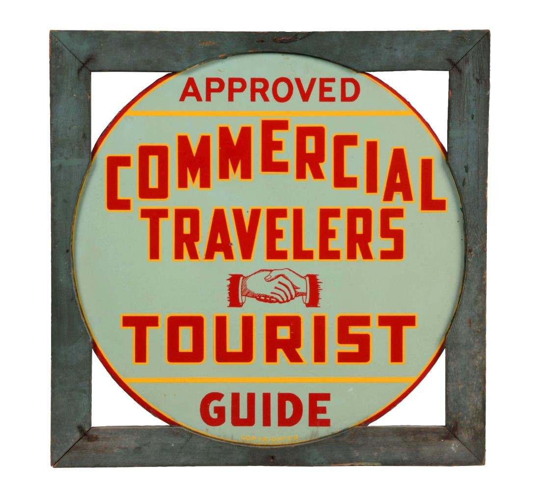 Commercial Travelers Tourist Guide Tin Sign In Wood