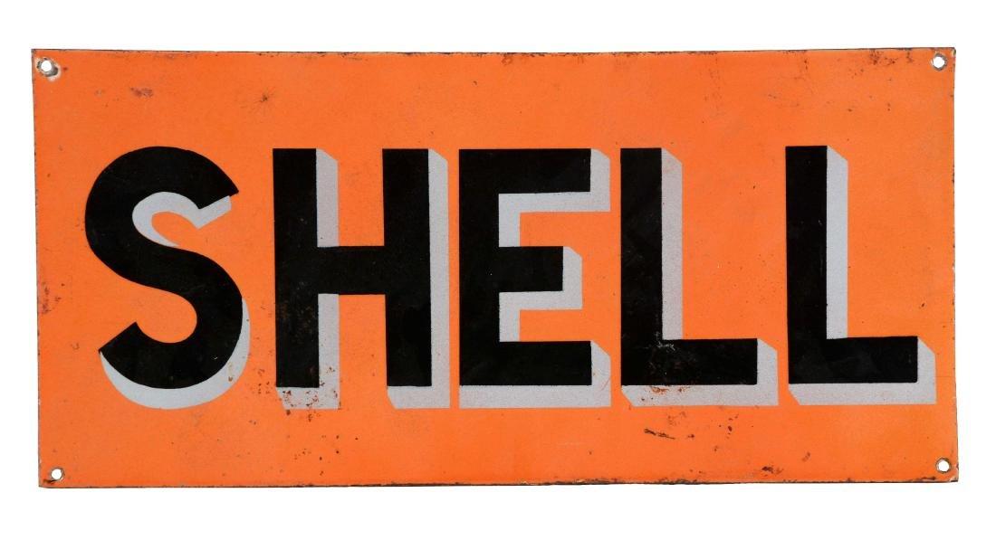 Porcelain Shell Gasoline Sign.