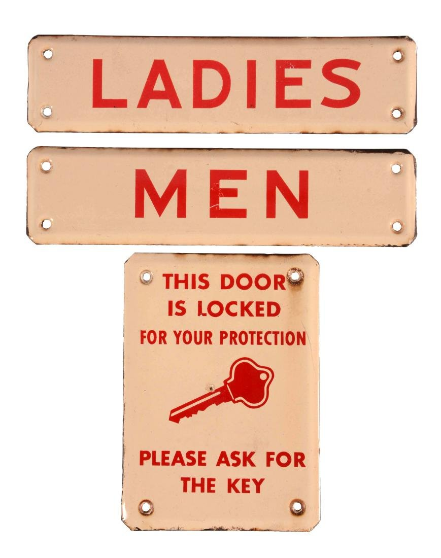 Lot of 3: Porcelain Bathroom Signs.