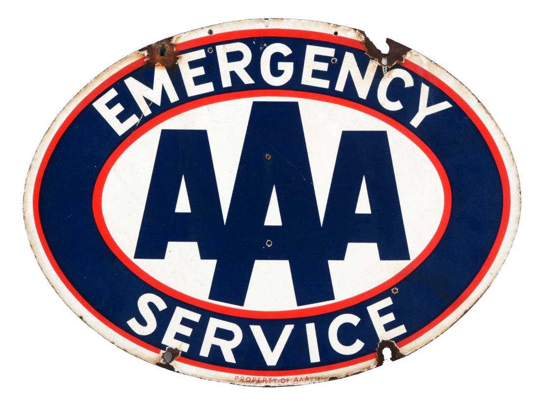 AAA Emergency Service Porcelain Oval Sign.