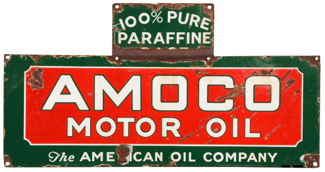 Amoco Motor Oil Porcelain Oil Rack Sign.