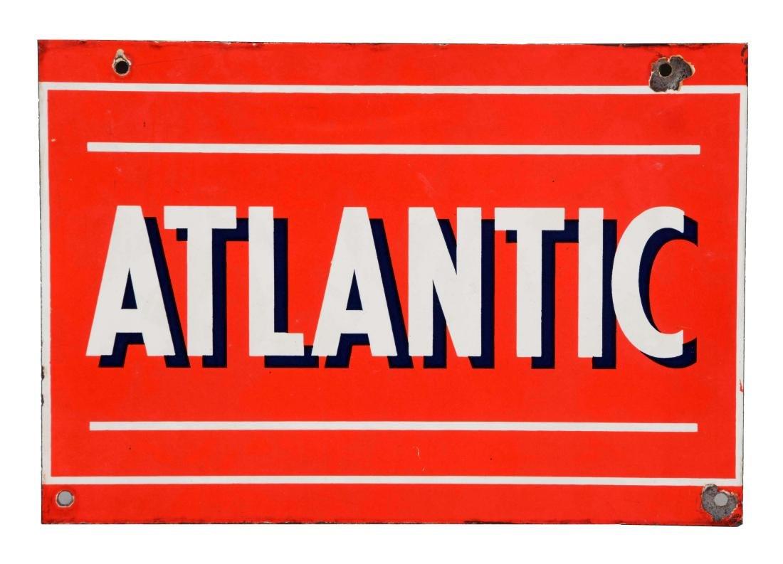 Atlantic Gasoline Porcelain Pump Sign.