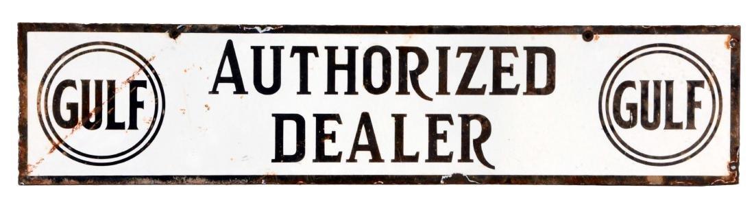 Gulf Gasoline Authorized Dealer Porcelain Strip Sign.