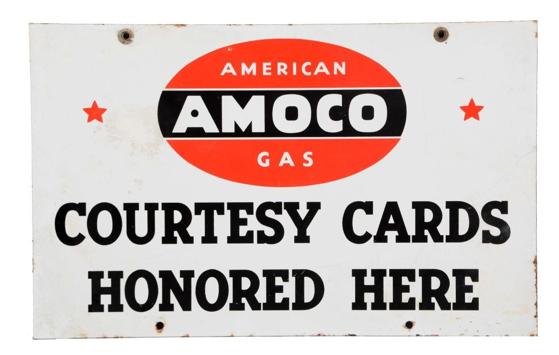 Amoco Courtesy Cards Honored Here Porcelain Sign.