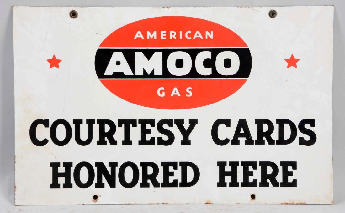 Amoco Courtesy Cards Honored Here Porcelain Sign. - 2