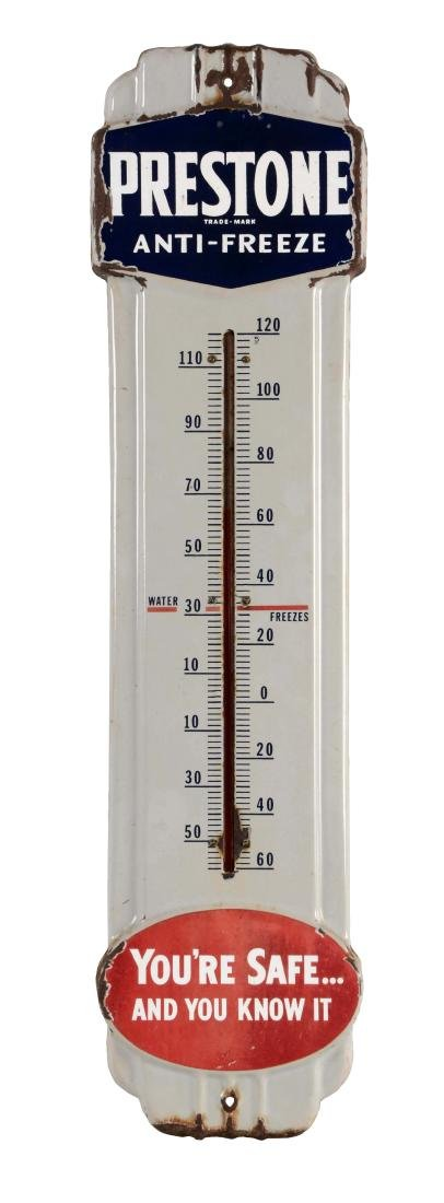 Prestone Antifreeze Embossed Porcelain Thermometer.