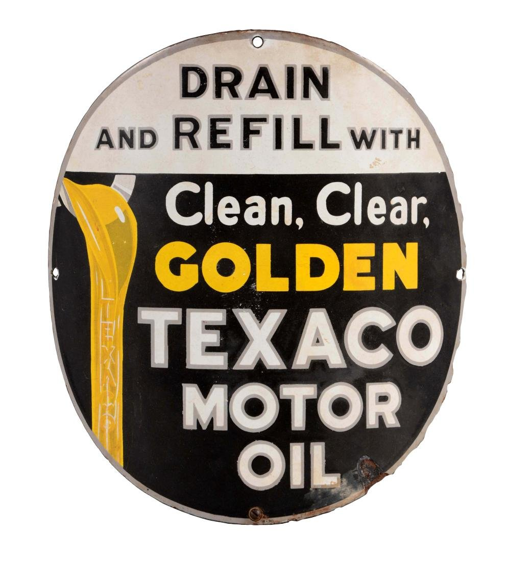 Texaco Motor Oil Curved Porcelain Pump Plate.