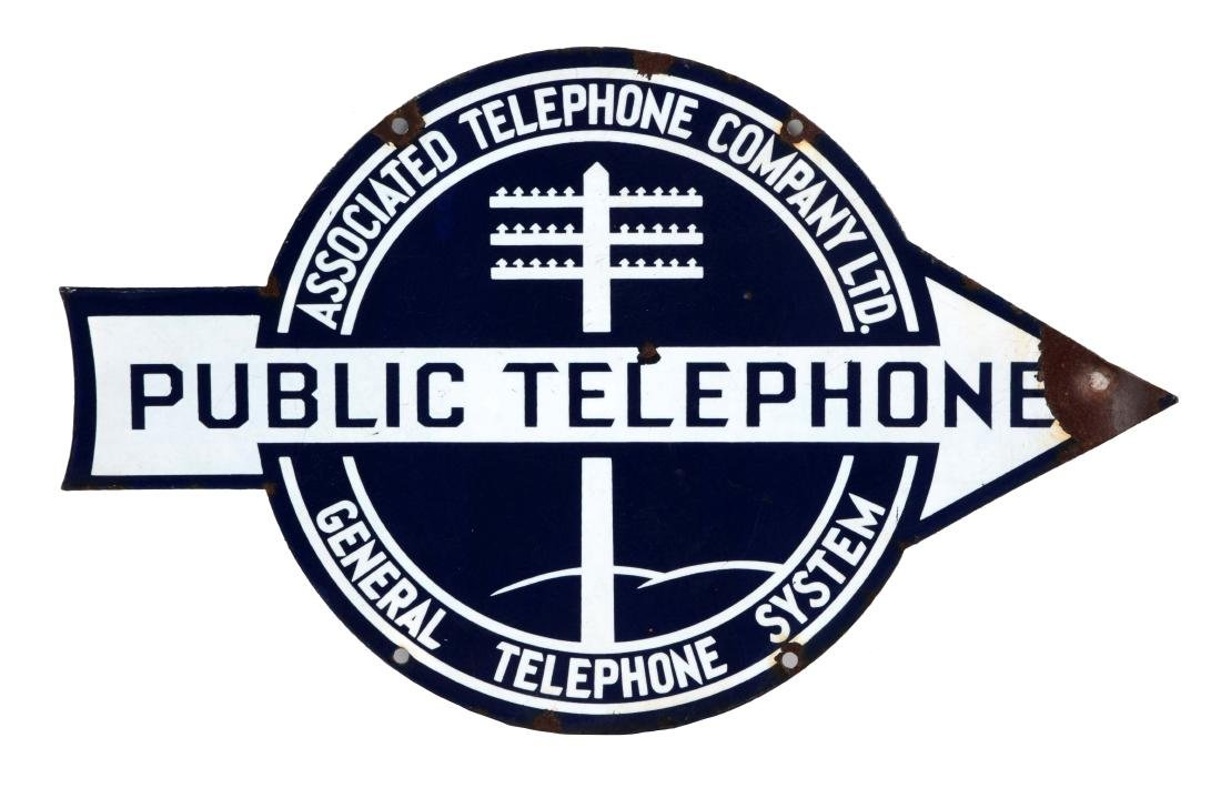 Public Telephone Porcelain Arrow Sign.