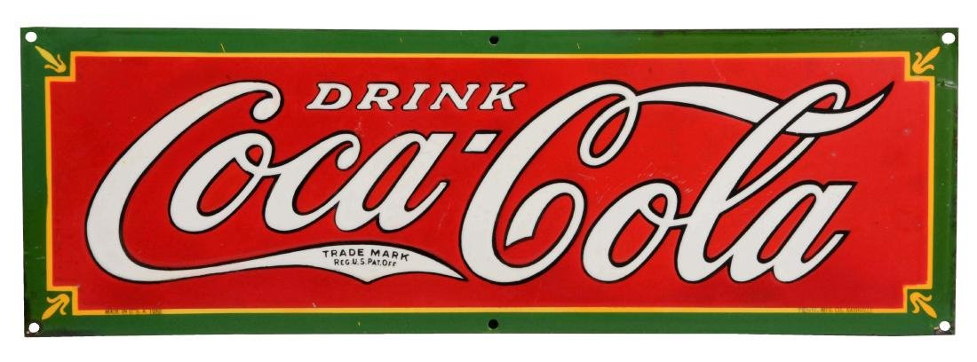 Drink Coca-Cola Porcelain Strip Sign.