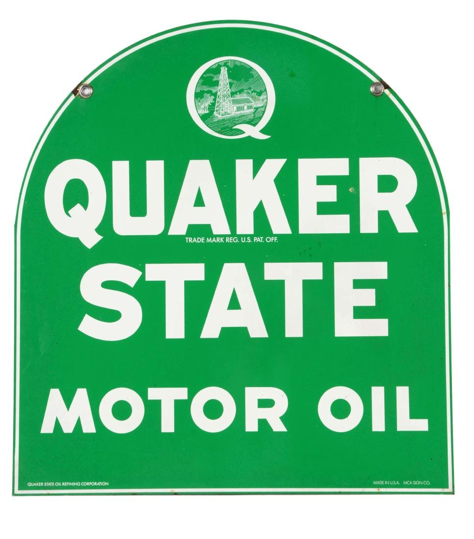 Quaker State Motor Oil Tin Tombstone Sign.