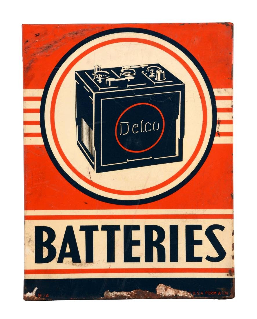 Delco Batteries Tin Sign.