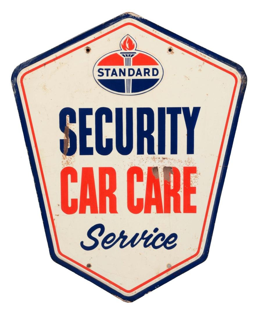 Standard Security Car Care Service Embossed Tin Sign.