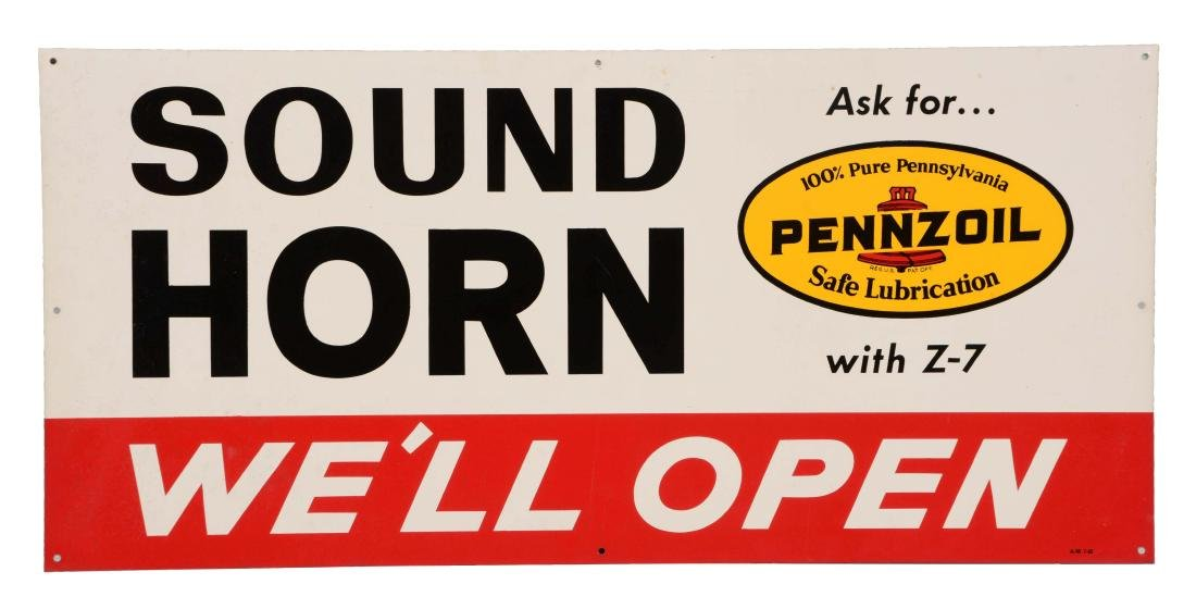 Pennzoil Sound Horn For Service Tin Sign.
