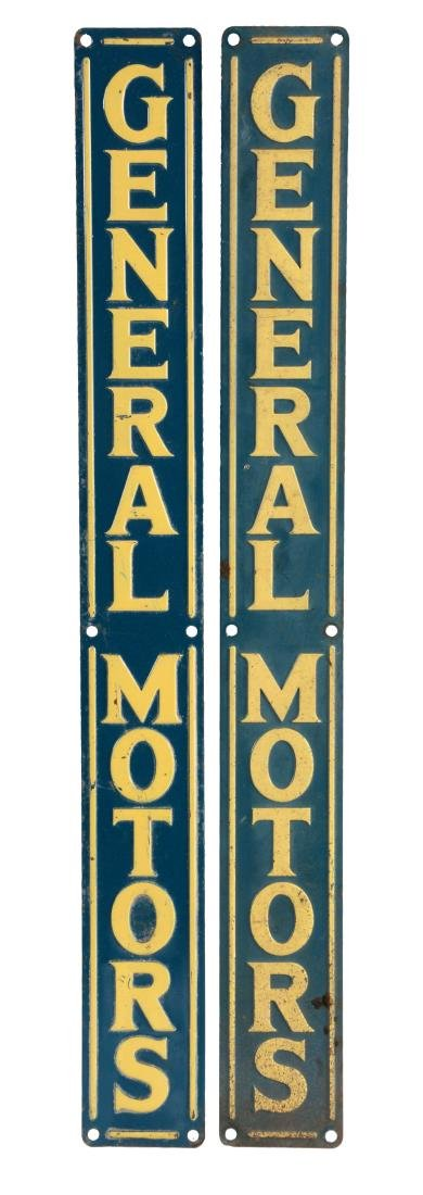Lot Of 2: General Motors Embossed Tin Vertical Signs.