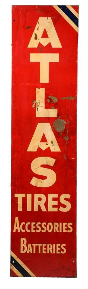 Atlas Tires Accessories & Batteries Vertical Tin Sign.