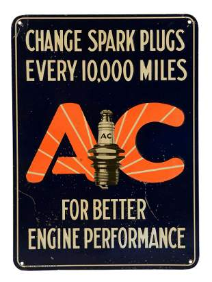 AC Spark Plugs Embossed Tin Sign.