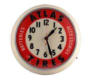 Atlas Tires Dualite Light Up Clock.