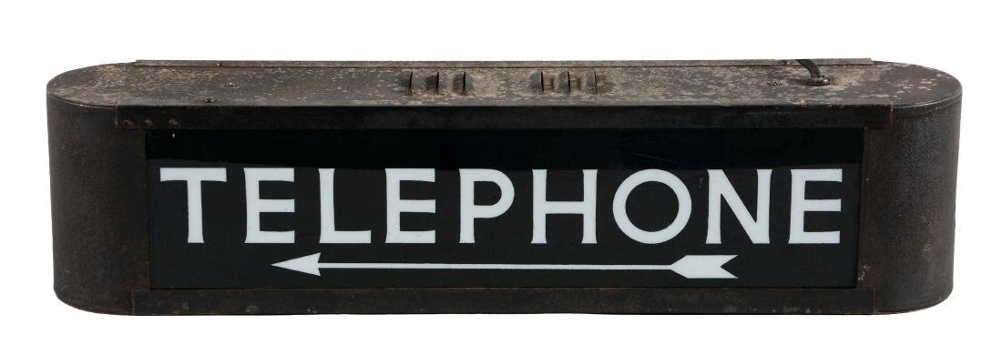 Light Up Telephone Sign with Pointing Arrow.