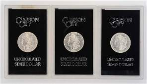 Lot of 3: Carson City Silver Dollar Coins.