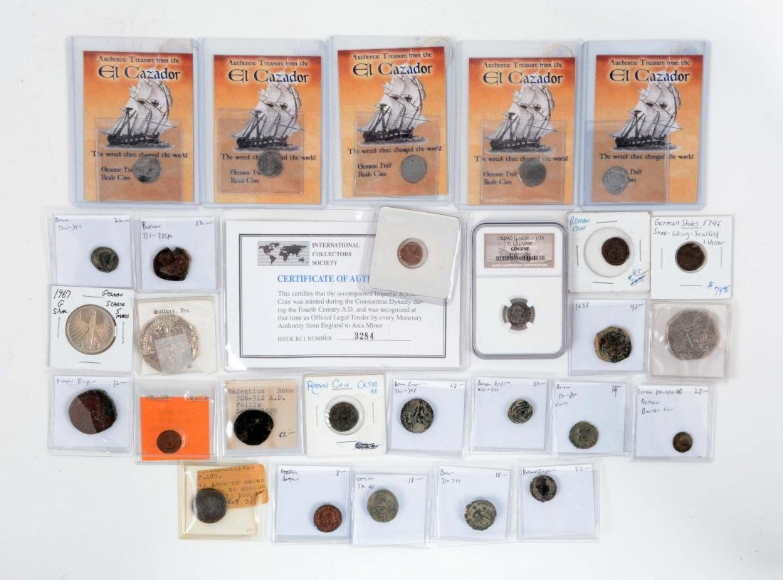 Large Lot Roman Coins & Shipwreck Coins.