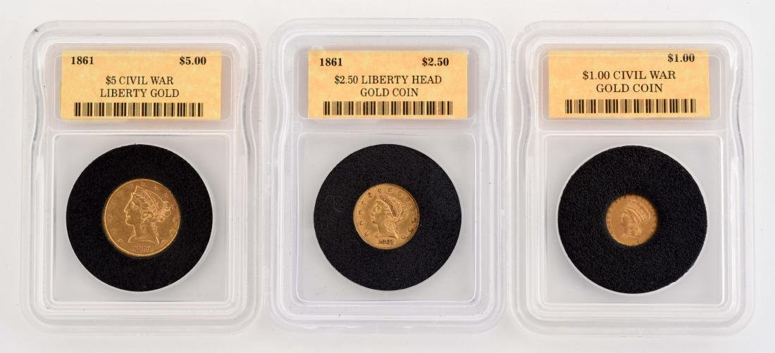 Lot Of 3: Gold Coins.